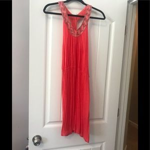 Coral and Silver Bathing Suite Cover Up